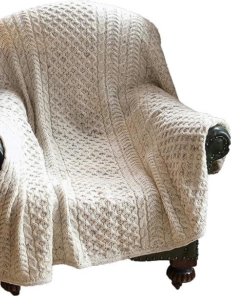 Aran Crafts Pure Irish Wool Oatmeal Fleck Honeycomb Wool Throw Irish Blanket