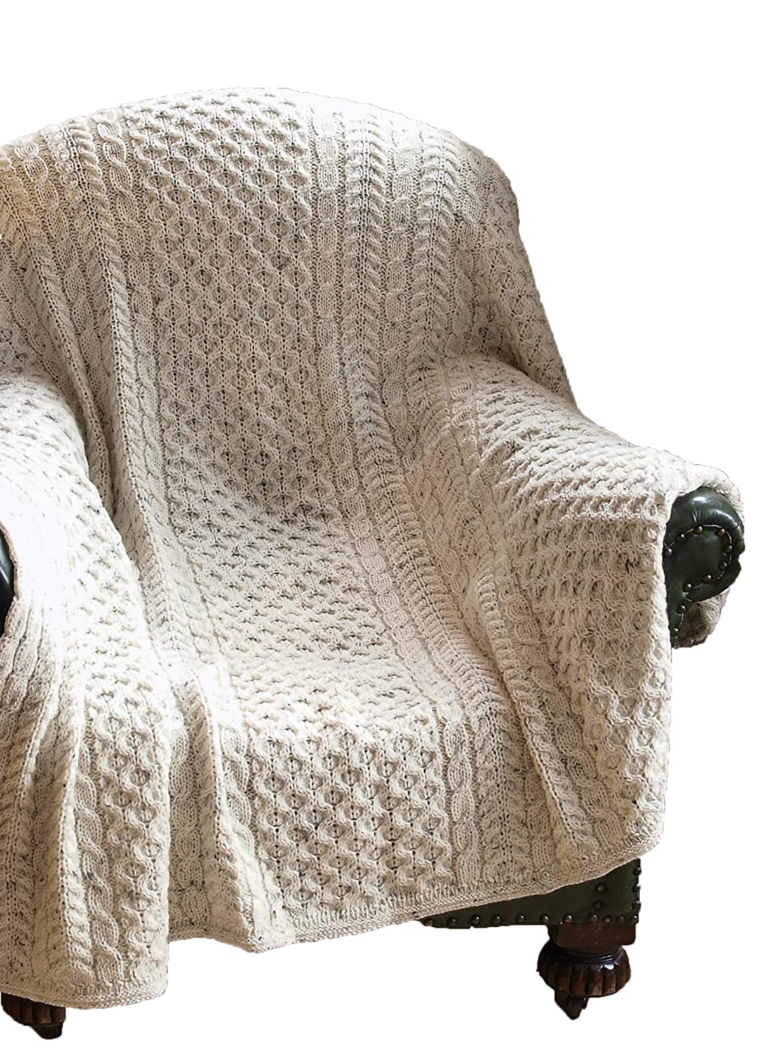 Image of Crafts Aran Crafts Traditional Honeycomb Throw Blanket 50'x60' (100% Pure New Wool)