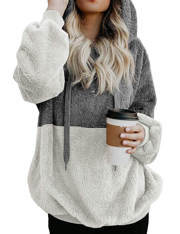 e843b2f7 Ezcosplay Women Drawstring Colorblock Sherpa Pullover Sweatshirt Fuzzy  Loose Hoodie