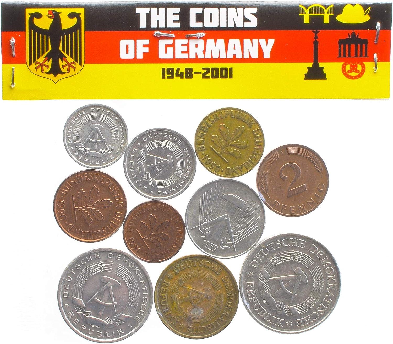 10 PI/ÈCES en Allemagne DE L/'EST ET Europe DE L/'Ouest/: Pfennig Porte-Monnaie ET Album pour LA Monnaie Choix Parfait pour Votre Tirelire Mark 1948-2001