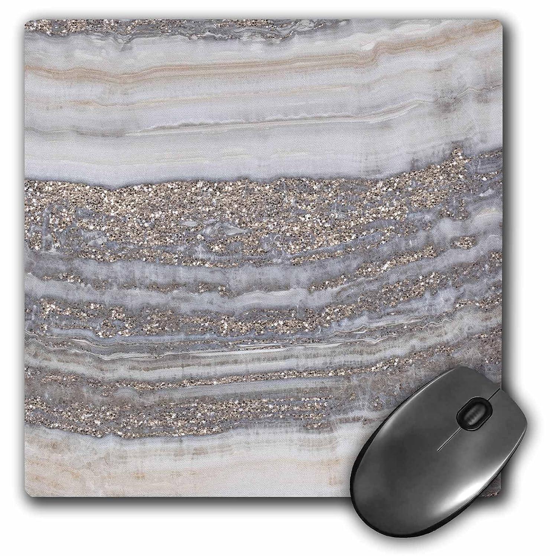 3dRose Mp_275120_1 - con Alfombrilla de ratón con - diseño de ágata y purpurina de cobre de color gris 766047