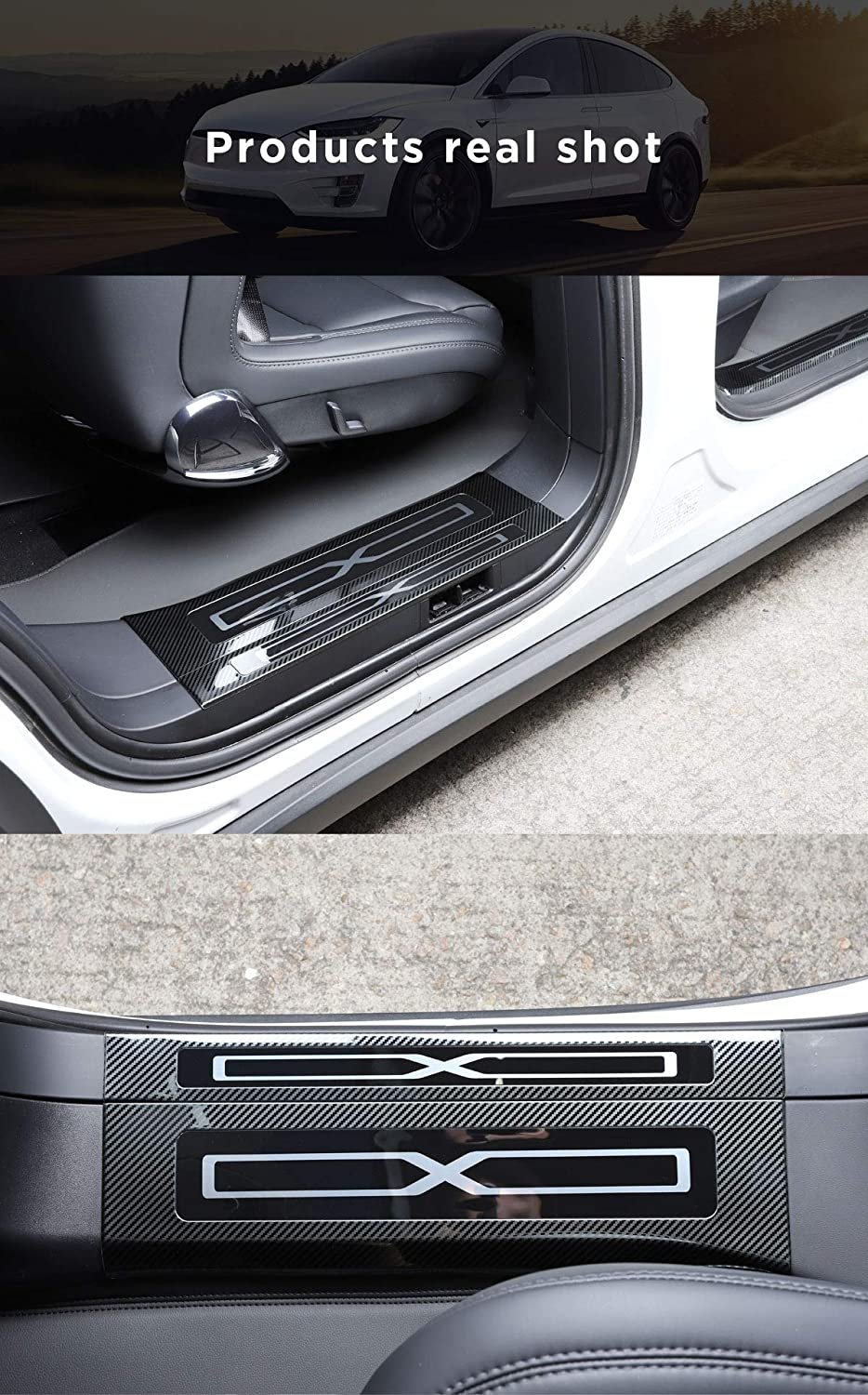 Carbon Fiber Style LUCKEASY Sill Protector for Tesla Model X Car Stainless Steel Door sill Trim Panel 6pcs//Set