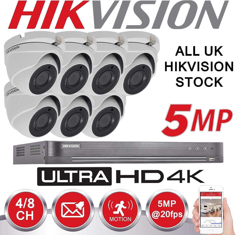 Sistema de seguridad de 8 canales Hikvision 5 MP CCTV 7x cámaras HIKVISION CMHT1352N resolución 4K DS-7208HUHI/K1 DVR + 2TB HDD (kit completo + 7 cámaras + 2 TB)