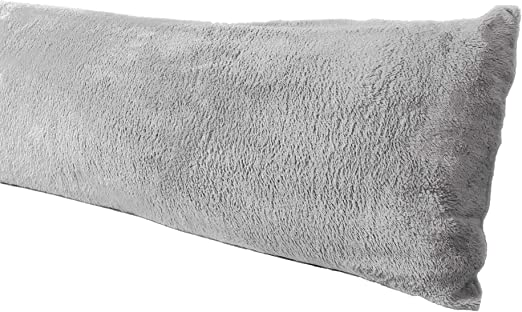 extra soft body pillow cover sherpa microplush material 20x54 inches zipper closure gray