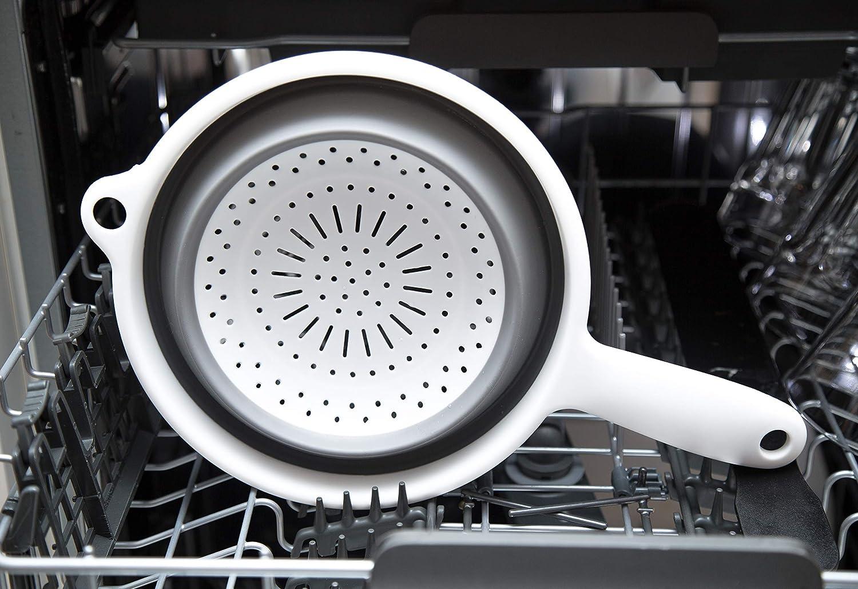 scolapasta salvaspazio Colore: Bianco//Grigio /Ø 22 cm Utilizzabile Come colino Excellent Houseware Facile da Pulire Colino Pieghevole in Silicone colino da Cucina