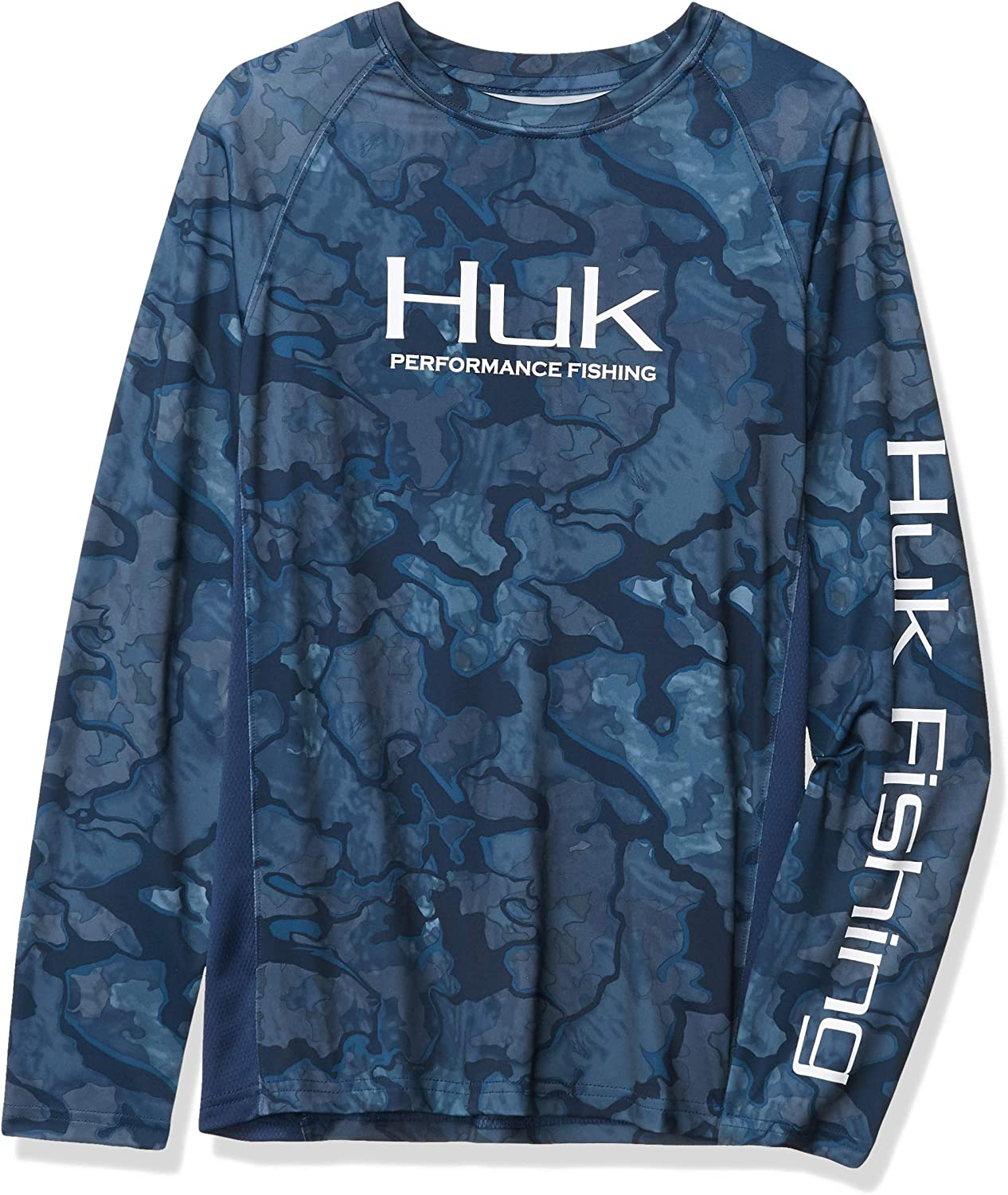 HUK Unisex-Child Pursuit Camo Vented 30 UPF Sun Protection Kids Long Sleeve Performance Fishing Shirt with