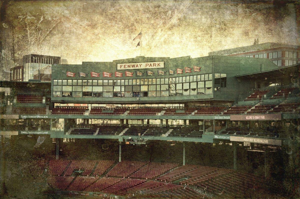 Vintage Fenway Park - Fenway Park Press Box, Vintage Red Sox Wall Art, Boston Red Sox Canvas - Choose Print or Canvas
