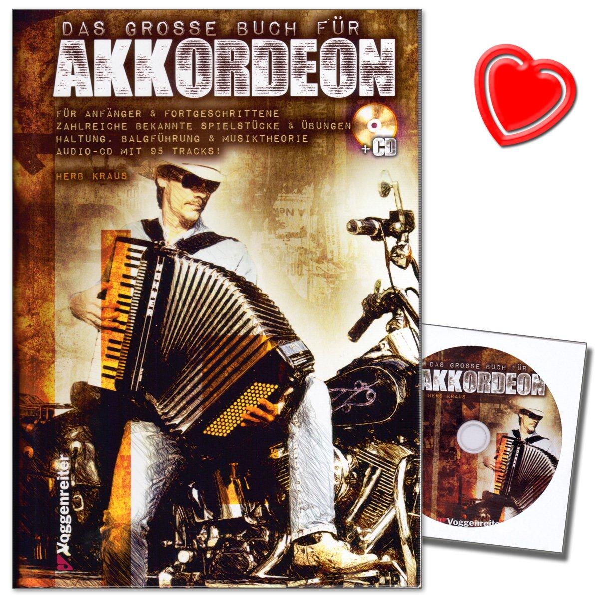 Le grand livre pour accordéon–Accordéon pour école pour Piano d'Herbert Kraus avec CD et coloré Cœur Note Pince–légers Chemin à Parfait Accordéon Jeu