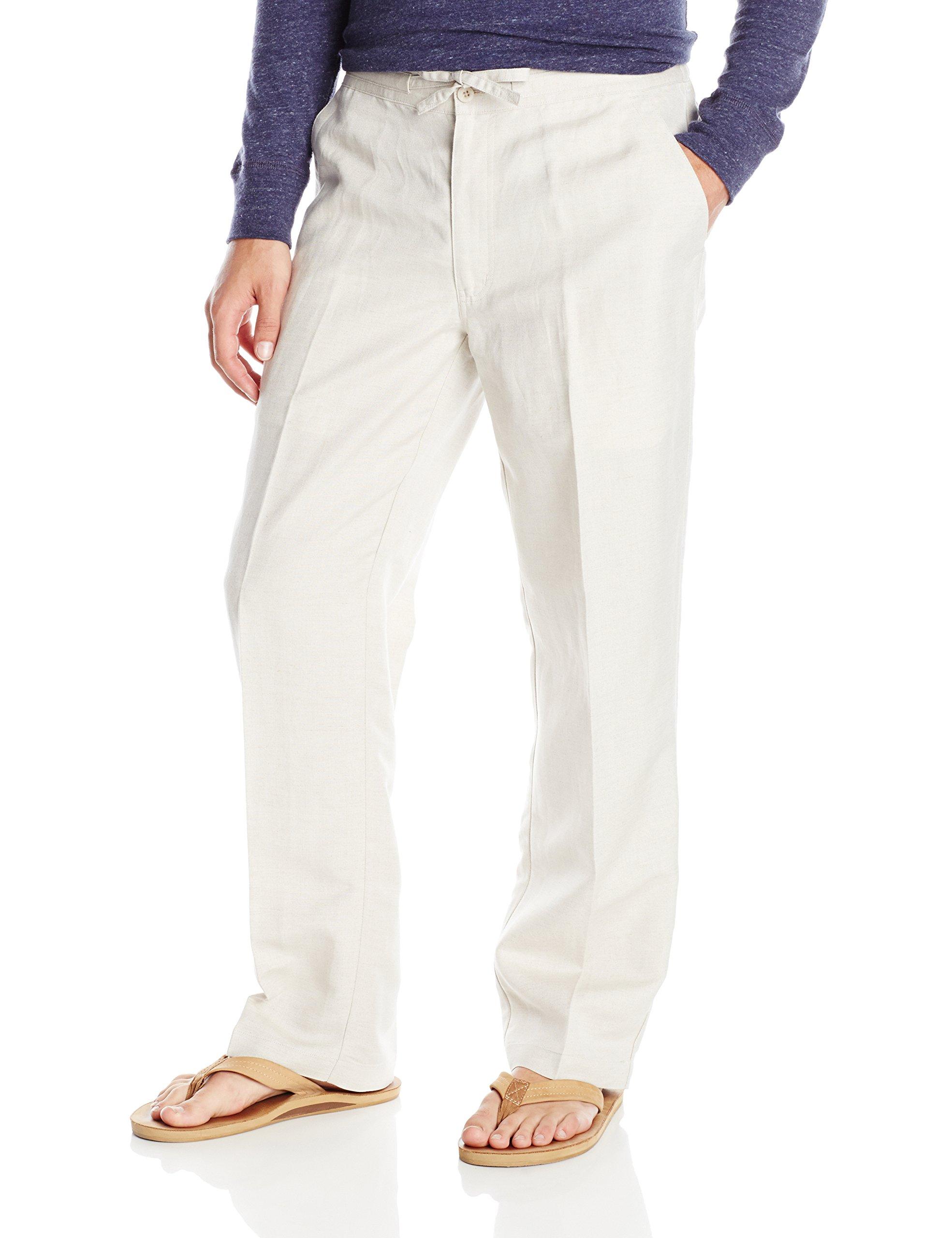 Cubavera Drawstring Pant with Back Elastic Waistband, Natural Linen, Large x 30L