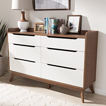 Amazon Com Baxton Studio 6 Drawer Storage Dresser Kitchen Dining