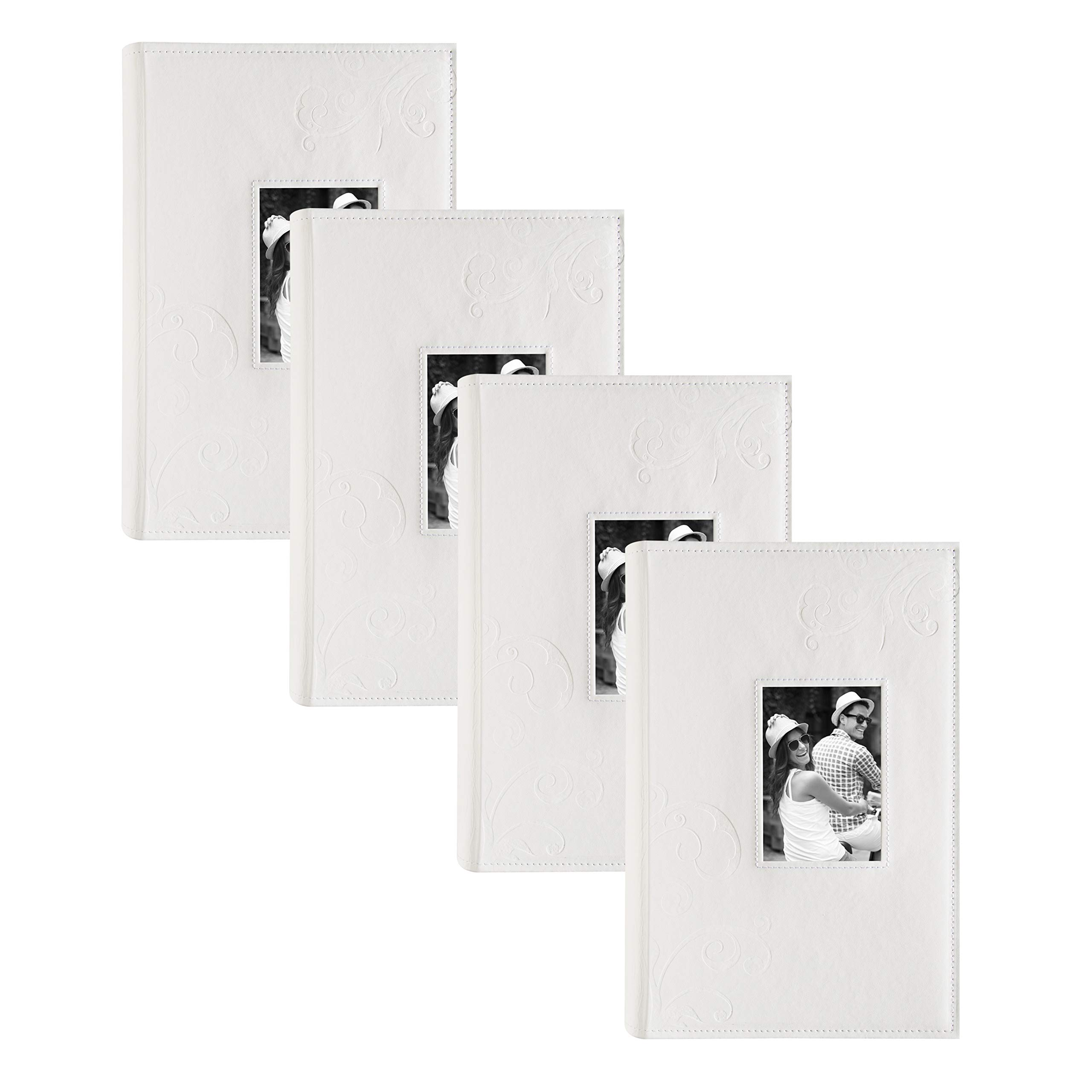 DesignOvation Embossed Flourish Faux Leather Photo Albums, Holds 300 4x6 Photos, Set of 4, Ivory White by DesignOvation