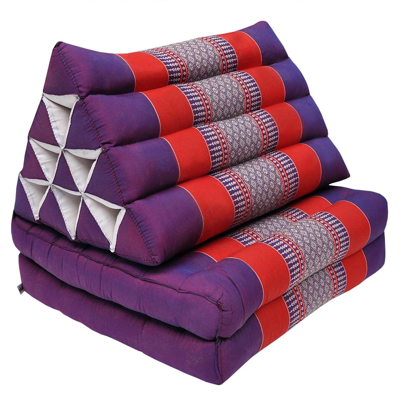 Wifash Set de 2 colchónes Thai 2 Pliegues, con cojín triángulo, Ocio, colchón, Kapok, Playa, Piscina, Fabricado en thailande, púrpura/Rojo (2x81502)