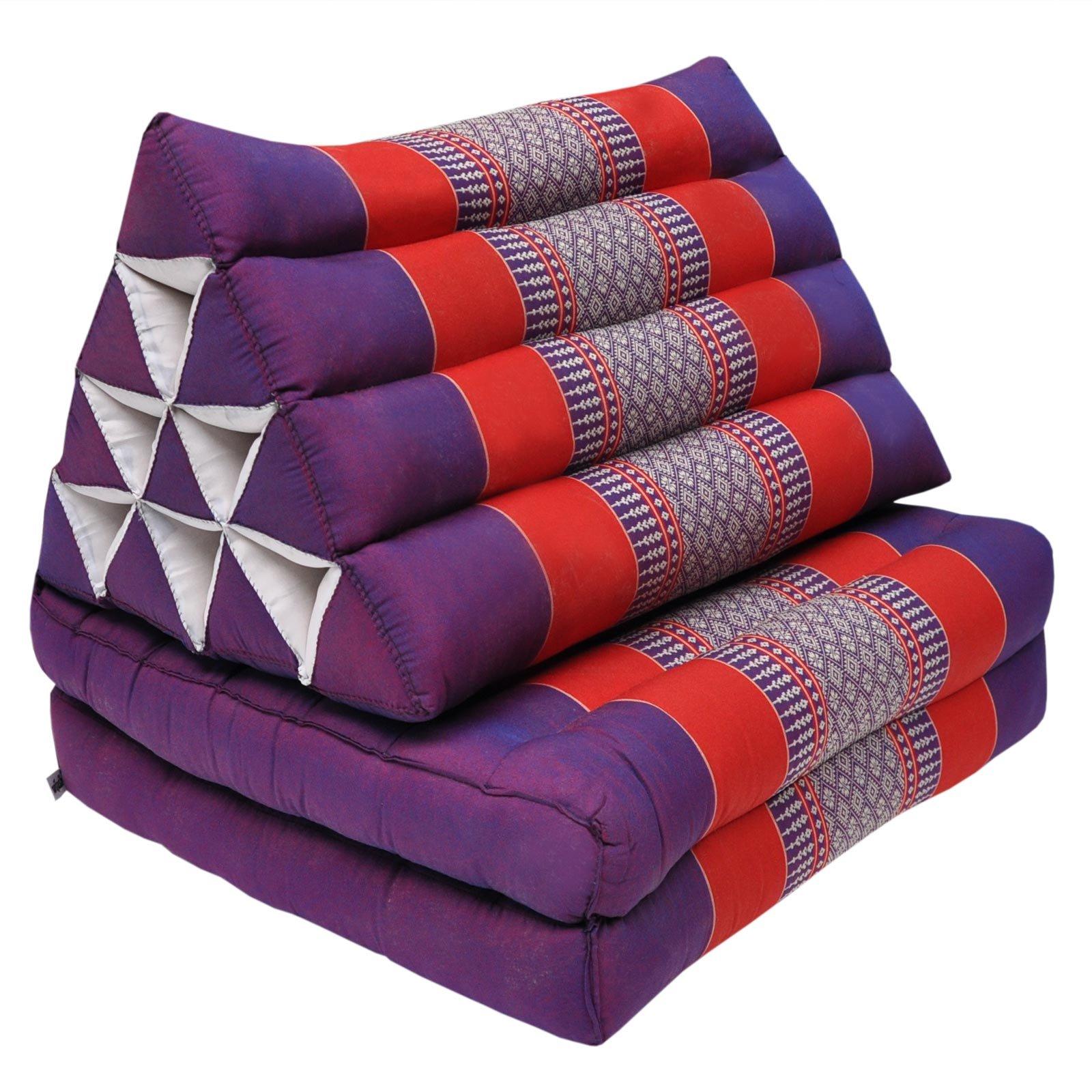 Thai triangular cushion with mattress 2 folds, relaxation, beach, pool, meditation garden Violet/Red (81502)