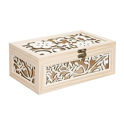 Darice Laser Cut Flower Pattern Wood Box Unfinished Natural