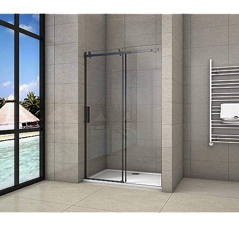 Mampara de ducha fija de cristal de 8 mm, perfil negro: Amazon.es: Bricolaje y herramientas