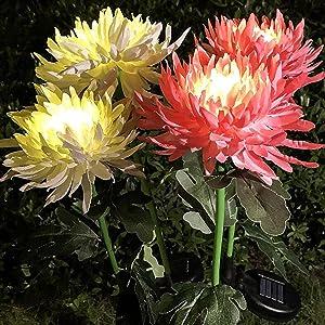Garden Art LED Light Outdoor Garden Chrysanthemum Flowers Stake Light Decor Solar Garden Fairy Light Outdoor Landscape Pathway Light for Patio Yard Decor (3PC Mix)