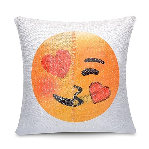 Emoji funda de almohada de lentejuelas, usong Changing cara ...