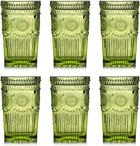Kingrol 6 Pack Vintage Drinking Glasses, 12 oz Embossed Romantic Water Glassware, Glass Tumbler Set for Juice, Beverages, Beer, Cocktail (Green)