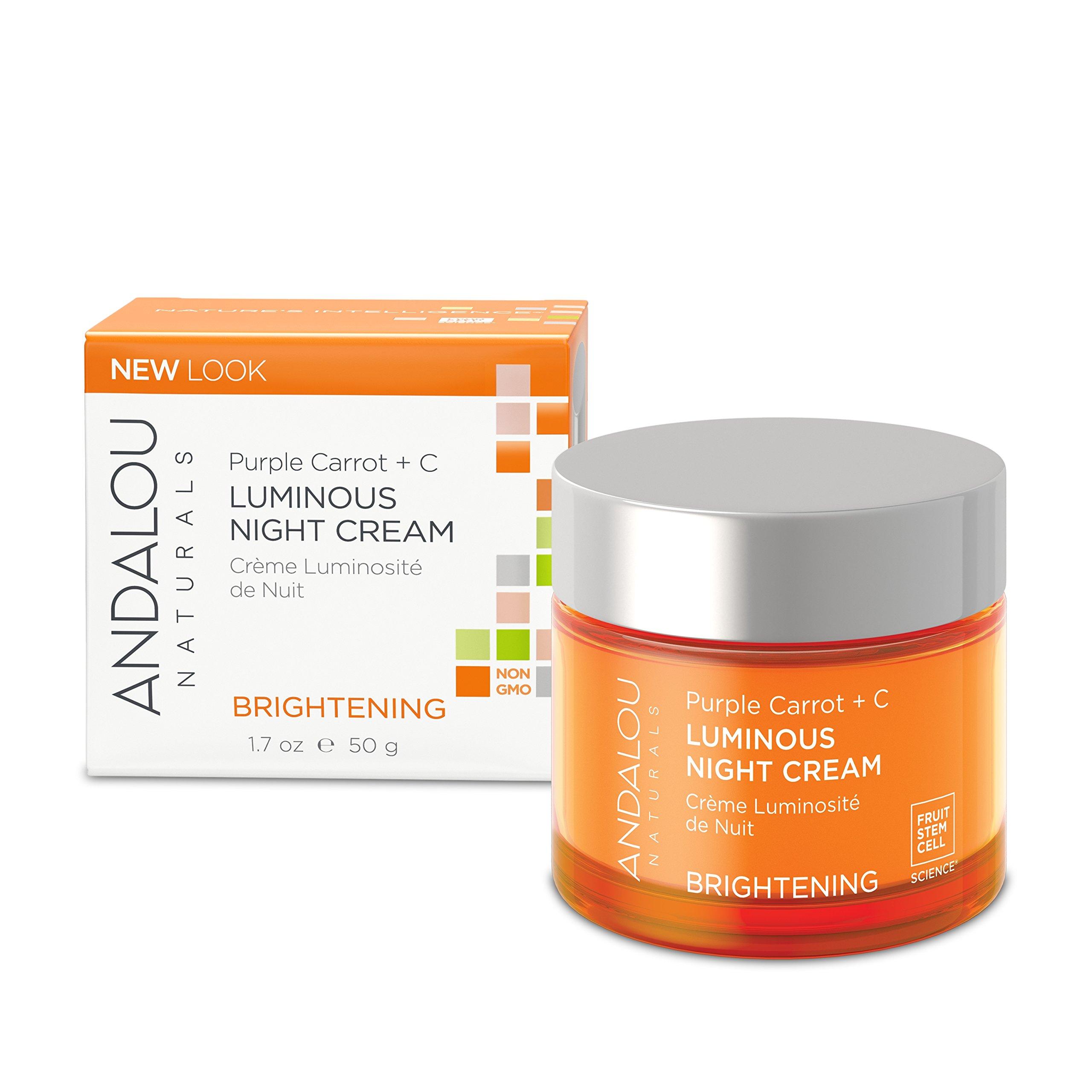 Andalou Naturals Purple Carrot + C Luminous Night Cream, 1.7 oz, Antioxidant Rich Night Cream to Help Firm, Tone & Even Skin