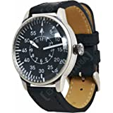 Mil-Tec Vintage Aviator Watch Black Dial Flieger Luftwaffe Pilot Quartz Mens World War 2 Wristwatch