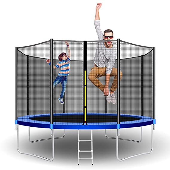 Beauty Kate Trampolines 12 FT Jump Trampoline with Enclosure Net Combo Bounce Outdoor Trampoline for Kids Trampoline