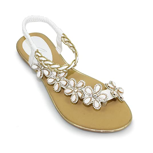 eeb83679894e9 ... Lunar Womens Gaby Toe Post Sandal With Diamante Flowers and Elasticated  Strap.