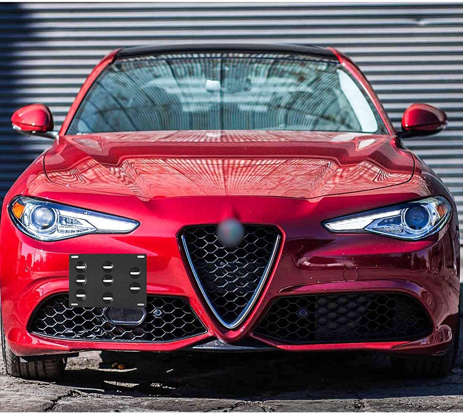No Drill Xotic Tech Red Front Bumper Tow License Plate Mount Bracket Relocator Kit for Alfa Romeo Giulia 2017-up