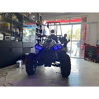 BlingLights Compatible 4x Blue LED Addon Halo Headlight Headlamp Angel Eye Rings for Can-Am ATV UTV: Automotive