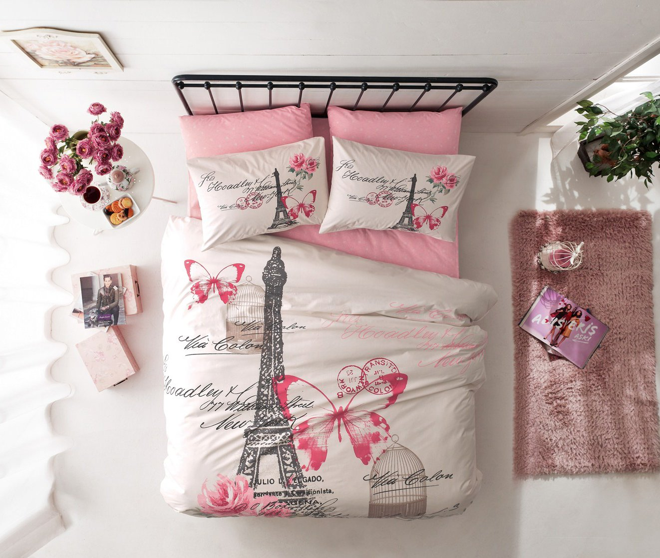 100% Cotton 7pcs Paris Pink Cream Full Size Duvet Quilt Cover Set Eiffel Tower Butterfly Theme Bedding Linens