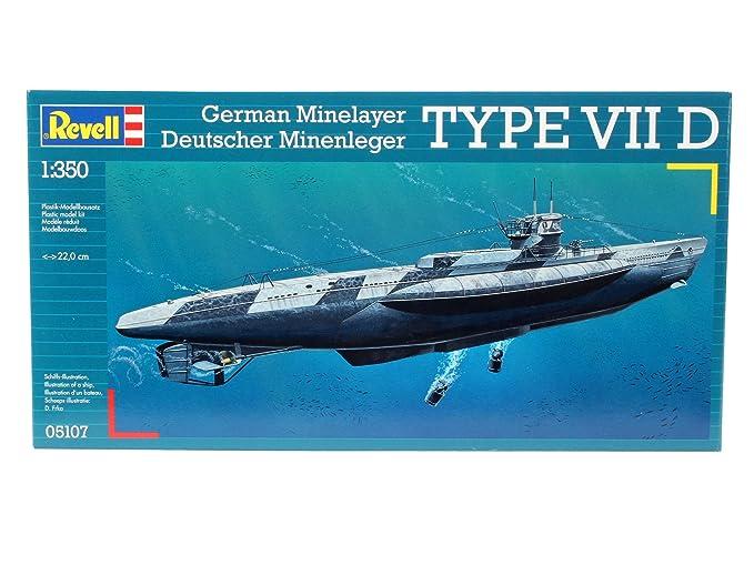 Revell 05107 - Maqueta del submarino VII D (escala 1:350, 28 piezas): Amazon.es: Juguetes y juegos