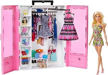 Comprar Barbie Fashionista Armario portable con muñeca incluida, ropa, complementos y accesorios de muñecas, regalo para niñas y niños 3-9 años (Mattel GBK12)