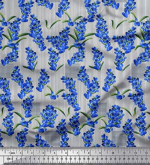 Soimoi Azul seda Tela raya y lavanda tela de camisa tela estampada de costura de tela 42 Pulgadas de ancho: Amazon.es: Hogar