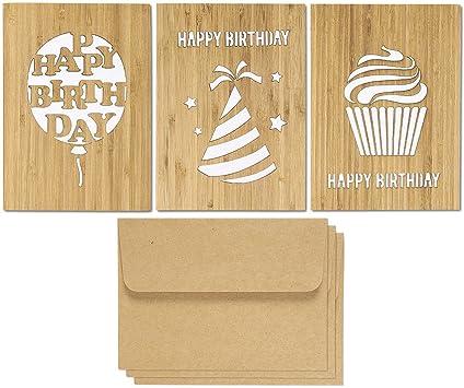 Pack de 3 Feliz cumpleaños de tarjetas de felicitación con sobres papel Kraft – de madera de bambú Real, 5 x 7 pulgadas, color marrón, color blanco: Amazon.es: Oficina y papelería