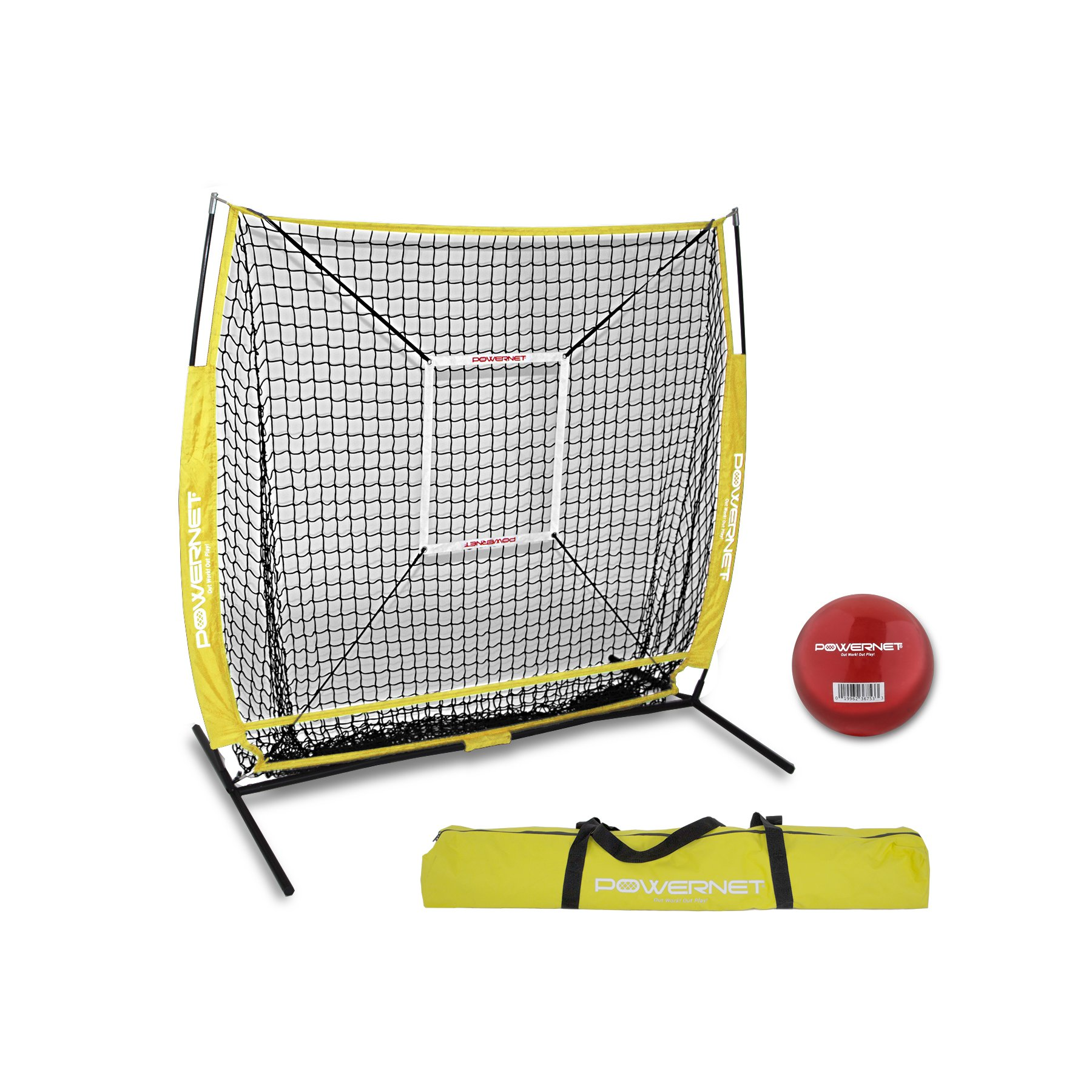 PowerNet 5x5 Practice Net + Strike Zone + Weighted Training Ball Bundle (Yellow) | Baseball Softball Coaching Aid | Compact Lightweight Ultra Portable | Team Color | Batting Screen by PowerNet