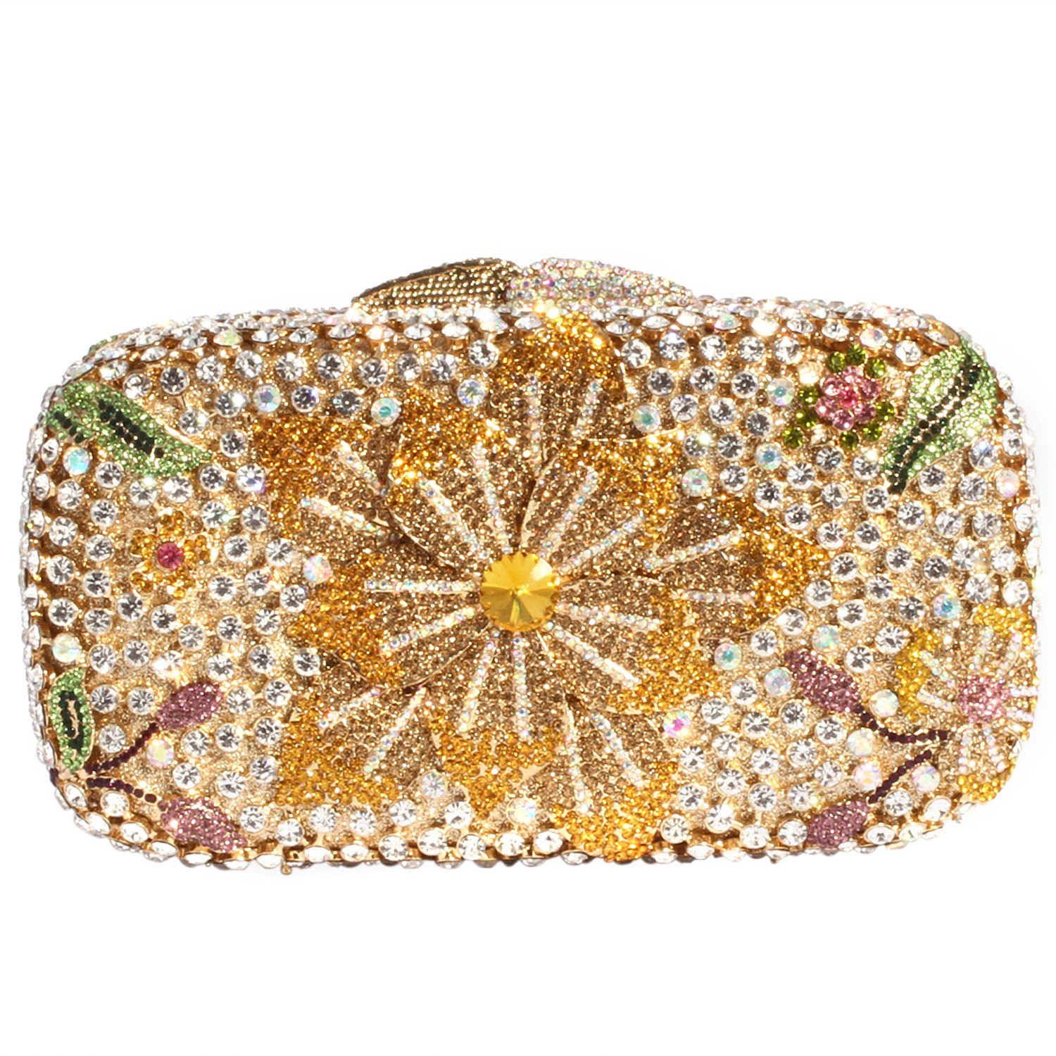 Digabi Bling Flower Pattern Women Crystal Evening Clutch Bags (One Size : 7.14.11.8 IN, yellow flowers crystal - gold plated)