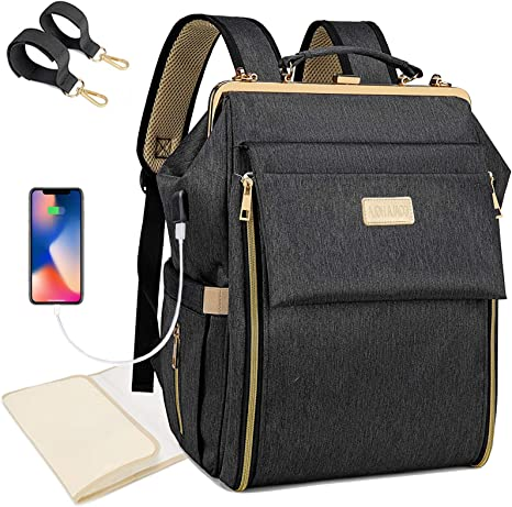 USB Charging Port Multi-Function Baby Travel Bag with Changing Mat Black COALA HOLA Baby Changing Bag Backpack Large Nappy Back Pack Diaper Bag Stroller Straps for Mom and Dad