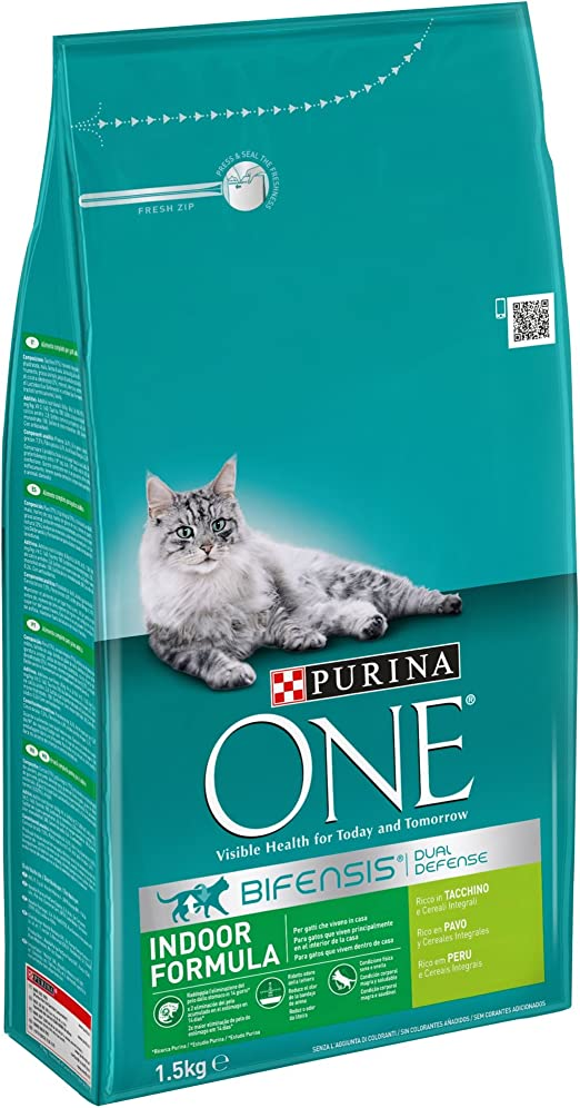 PURINA ONE Bifensis Pienso para Gatos de Interior Pavo y Cereales 6 x 1,5 Kg: Amazon.es: Productos para mascotas