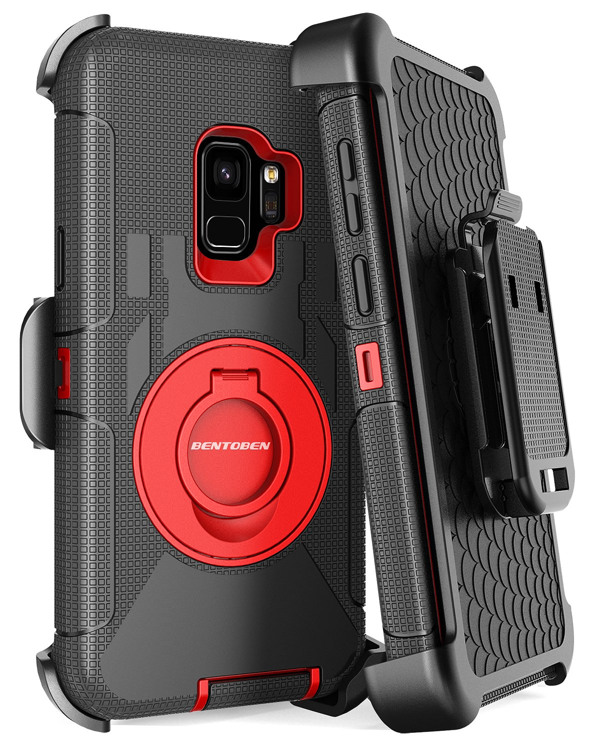 Galaxy S9 Case, Samsung Galaxy S9 Case, BENTOBEN Shockproof Heavy Duty Kickstand Swivel Belt Clip Hybrid Full Body Rugged Holster Protective Phone Case Cover for Samsung Galaxy S9 (SM-G960U),Black/Red