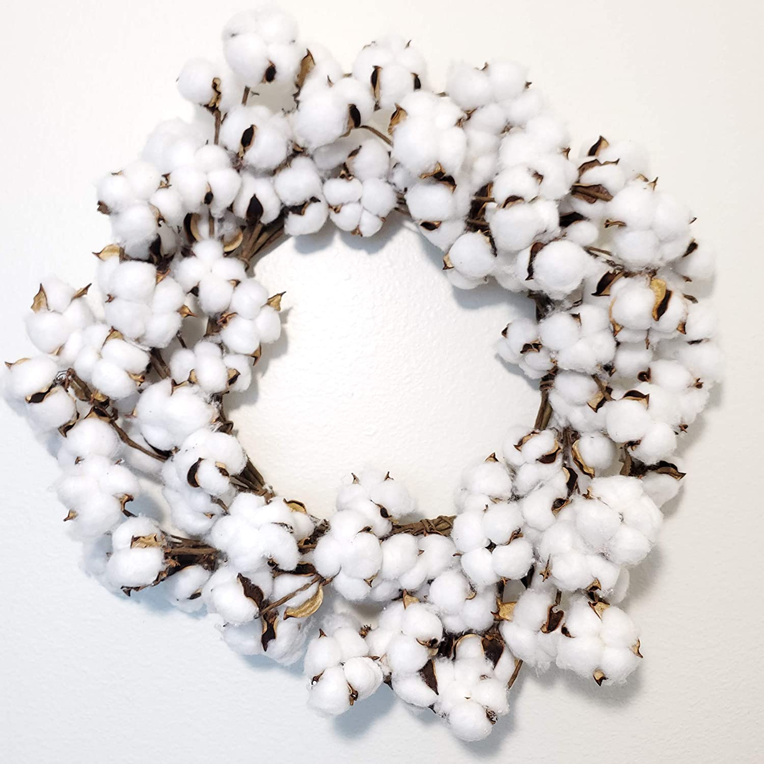 White Pip Berry and Cotton Boll Year Round Front Door Wreath