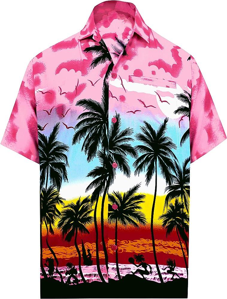 LA LEELA   Funky Camisa Hawaiana   Señores   XS-7XL   Manga Corta   Bolsillo Delantero   impresión De Hawaii   Playa Playa Fiestas, Verano y Vacaciones Rosa_W139 5XL: Amazon.es: Ropa y accesorios