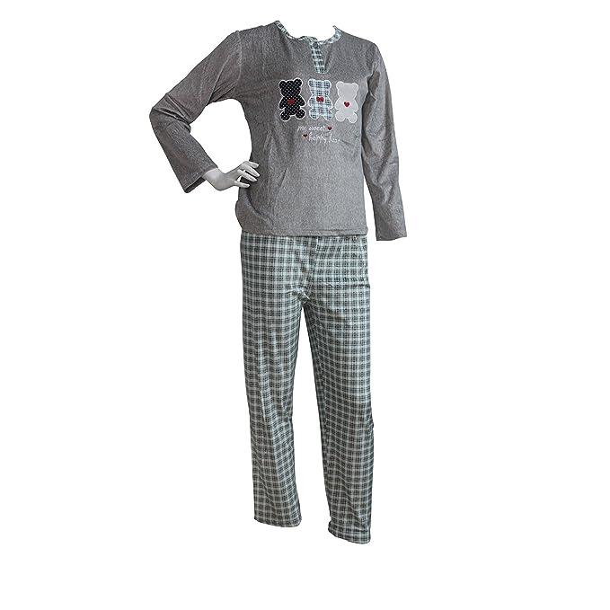 FERETI (M) Pijama Mujer Gris Verde Terciopelo Osos Otoño Oso Panda Animales Invierno Flanelado