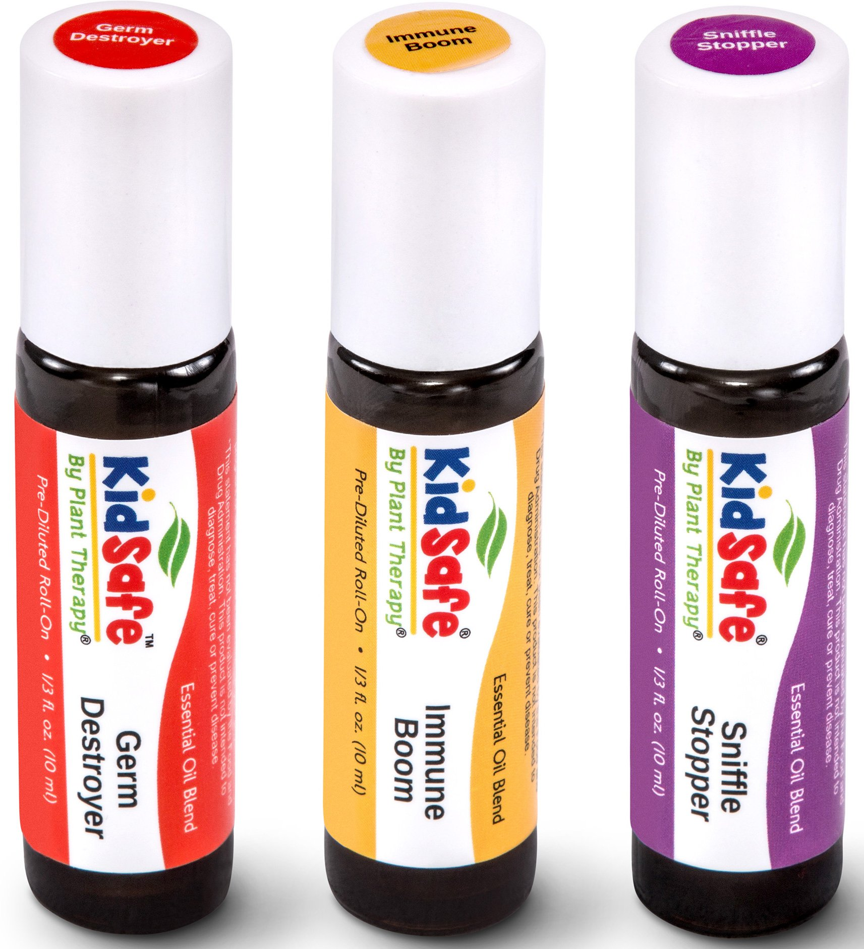 Plant Therapy KidSafe Wellness Roll-On Sampler Set. 100% Pure, Therapeutic Grade Essential Oils Diluted in Coconut Oil. Includes: Germ Destroyer, Immune Boom and Sniffle Stopper. 10 ml (1/3 oz) each.