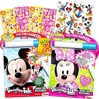 Disney Minnie Mouse and Mickey Mouse Imagine Ink Book Super Set (Bundle Includes Over 100 Stickers and Mess-Free Marker): Toys & Games