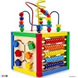 Activity Cube With Bead Maze - 5 in 1 Baby Activity Cube Includes Shape Sorter, Abacus Counting Beads, Counting Numbers…
