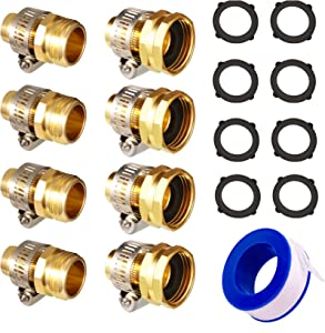 DOCAS Garden Hose Repair Kit 5/8'' 3/4'' Water Hose End Repair Mender Male Female Garden Hose Fittings Connector with Stainless Clamps (4 Sets)