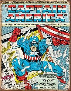 "Desperate Enterprises Marvel Comics Captain America Comic Cover Tin Sign, 12.5"" W x 16"" H"