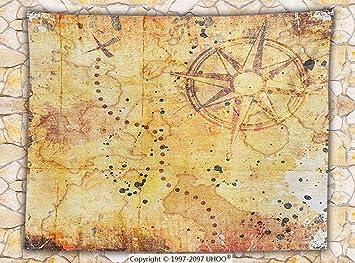 Isla mapa Decor manta de forro polar antiguo mapa del tesoro Grunge oxidado estilo pergamino impresión historia tema Boho Decoración Throw Mostaza: ...