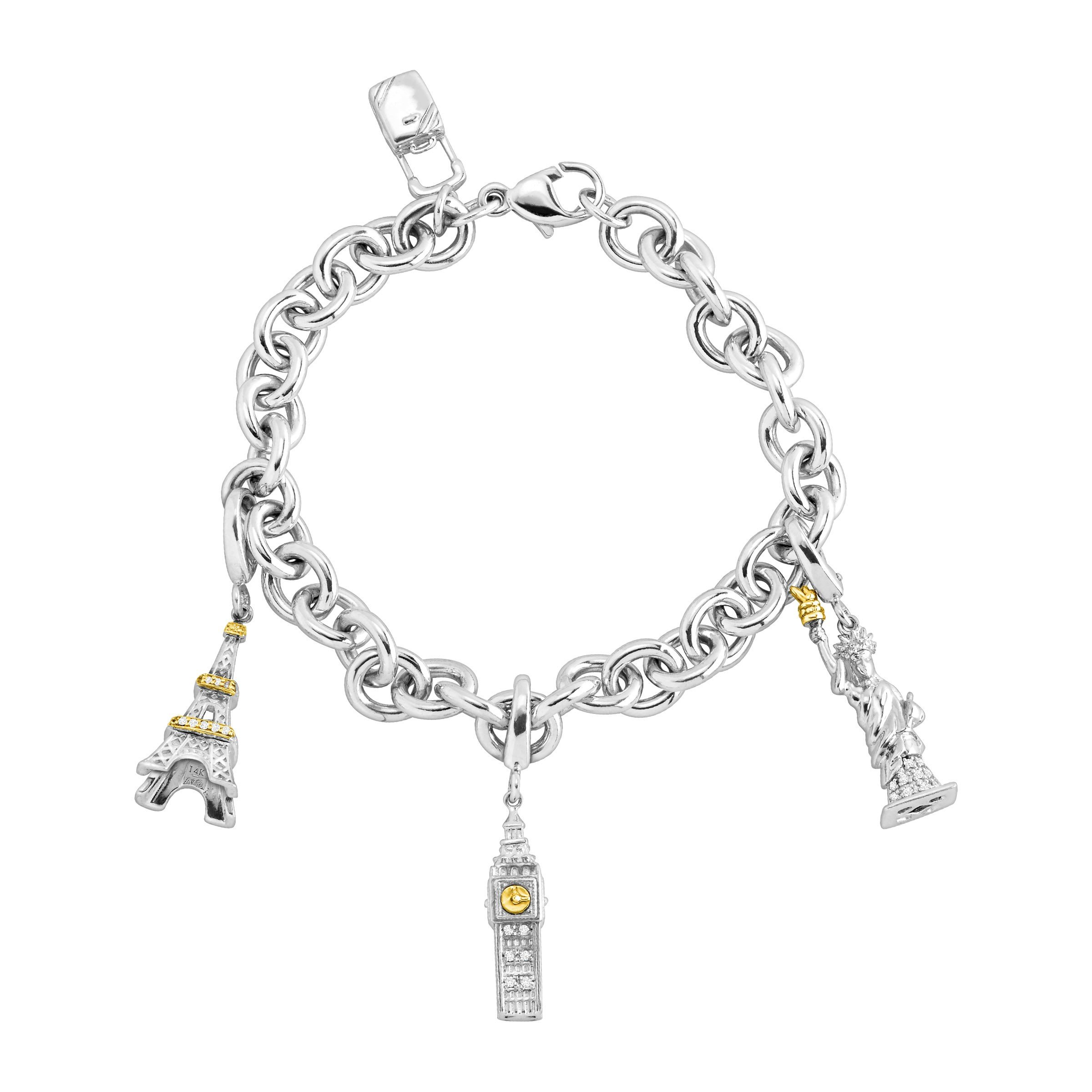 Travel Charm Bracelet with 1/8 ct Diamonds in Sterling Silver & 14K Gold by Finecraft