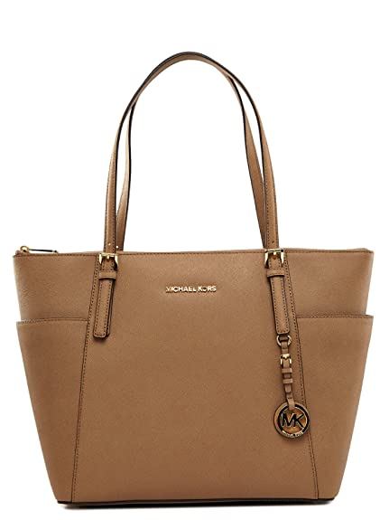 4e264884aa60 Michael Kors Jet Set Travel, large Saffiano leather, top-zip, tote shoulder bag  Beige Size: One Size: Amazon.co.uk: Luggage