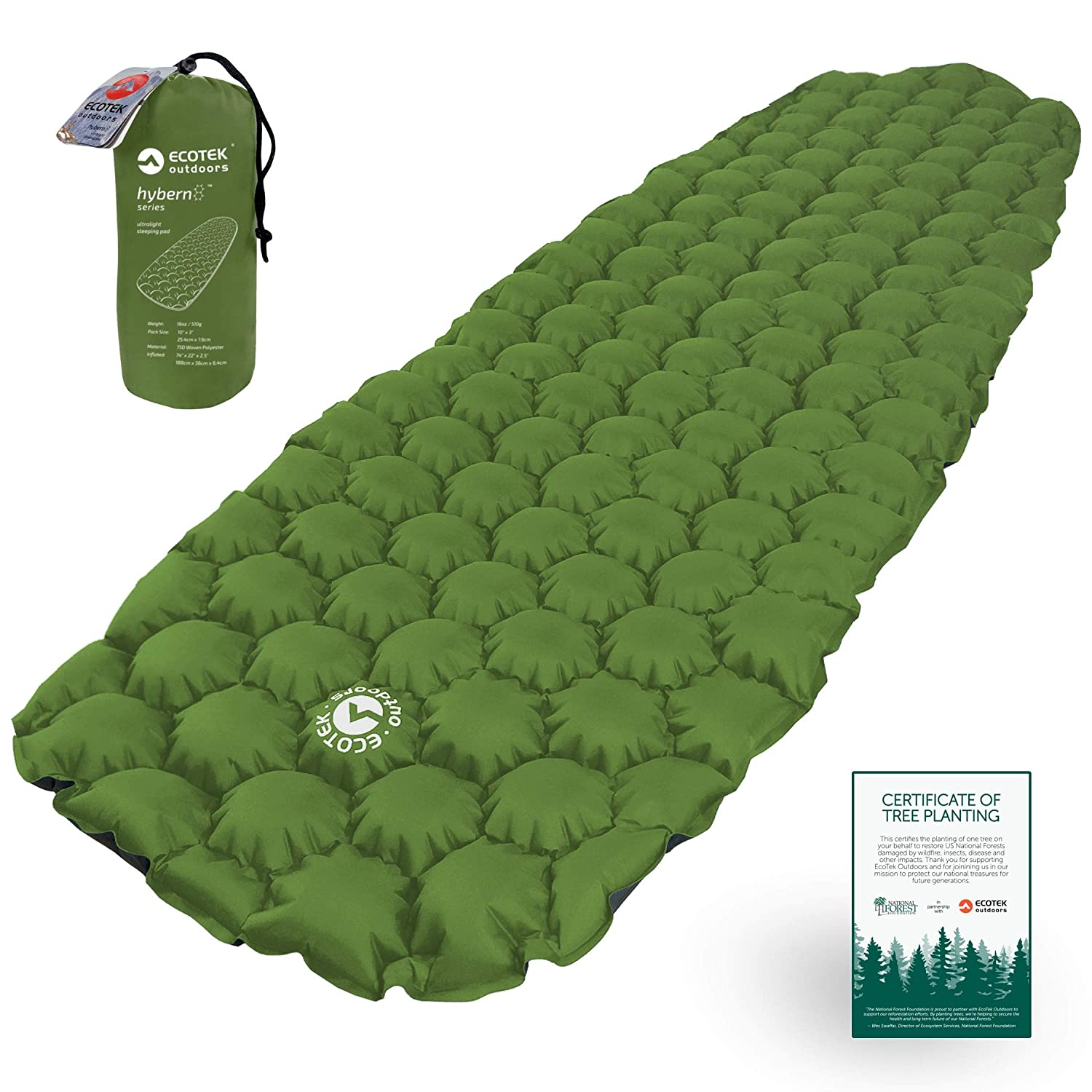 2d9f8f4c320ecf ECOTEK Outdoors Hybern8 Ultralight Inflatable Sleeping Pad for Hiking  Backpacking and Camping - Contoured FlexCell Design - Perfect for Sleeping  Bags and ...